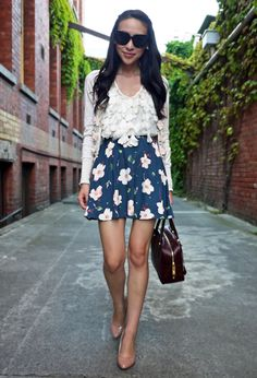 Flower Petals  #fashion #style , Topshop in Skirts, Prada in Bags, Alannah Hill in Shirt / Blouses, Alannah Hill in Cardigans, Celine in Glasses / Sunglasses, Tony Bianco in Heels / Wedges