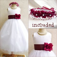 Gorgeous White Burgundy Wine Wedidng Flower Girl Dress Free Headpiece ALL Sizes | eBay