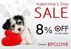 This Valentine Save up to 8% with Coupon 'BPCLOVE' on all pet products http://budgetpetcare.com