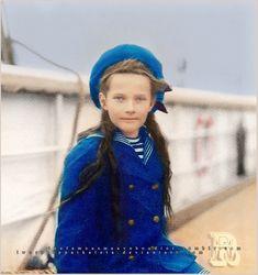 Grand Duchess Tatiana Nikolaevna Romanova of Russia (1897-1918) aboard the Standart. Originally black and white photo coloured by me.