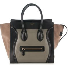 CELINE Smooth Calfskin Suede Tricolor Mini Luggage Almond ❤ liked on  Polyvore featuring bags and luggage ff66eb44b085e