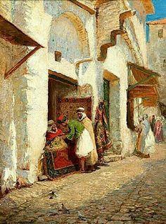 Algérie - Peintre Américain Addison Thomas Millar (1860 – 1913), huile sur toile , Titre : Le souk