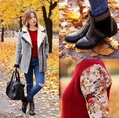 Voguec Coat, Choies Boots, Choies Sweater, Choies Pants, Modekungen Bag