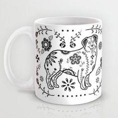 Sugar Skull Australian Shepherd Coffee Mug