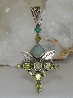 Angel Sterling and Peridot Pendant with Opal