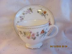 Wedgwood Bone China Floral Tea Cup & Saucer Mirabelle Made in England