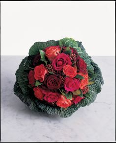 Savoy cabbage filled with roses