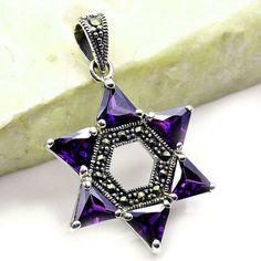 Jewish Star of David Pendant Amethyst Pendant Marcasite