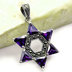 Jewish Star of David Amethyst Marcasite Jewelry by TheSilverPlaza