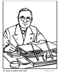 free printable president harry s truman biography and coloring picture
