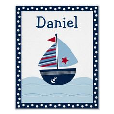Sail Away Sailboat Nursery Wall Art Name Print