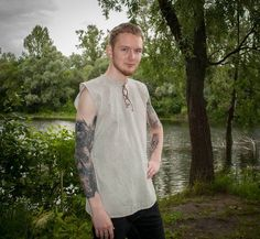 Sleeveless tunic medieval tunic Folk shirt Pagan clothing Celtic clothing Sleeveless Viking shirt m Tunic Shirt, Tunic Tops, Medieval Tunic, Celtic Clothing, Viking Shirt, The Costumer, Linen Tunic, Folk Costume, Costumes