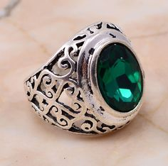 US 16853 Green Quartz 925 Sterling Silver Overlay Ring Sz 10 Exclusive Jewelry #PinkCityGems #Ring