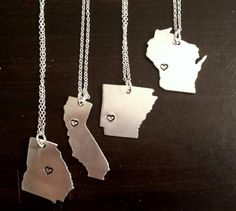 State Necklaces, #statenecklace City State Necklace, Home Is Where the Heart Is Necklace, Hometown Necklace