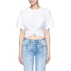 T by Alexander Wang Twist front cropped T-shirt ($180) ❤ liked on Polyvore featuring tops, t-shirts, white, white crop t shirt, twisted tees, twist top, white top and ruched tee