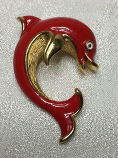 Vintage Trifari Dolphin Figural Red Enamel Brooch 1960's Goldtone Sea Nautical #Trifari