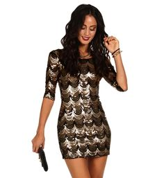 Black and Gold Scalloped Sequin Dress  Short, mini, open back, homecoming, winterball, formal, cocktail