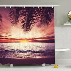 Ambesonne Palm Tree Tropical Beach under Shadow at Sunset Ocean Waves Serenity in Natural Paradise Shower Curtain Set Size: