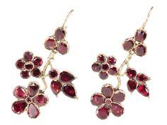 Stunning Georgian Almandine Garnet Earrings - The Three Graces