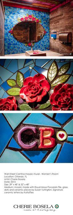 Wall Street Cantina - Women's Room - Orlando, FL -  mosaic mural - By Cherie Bosela #mosaic #Orlando