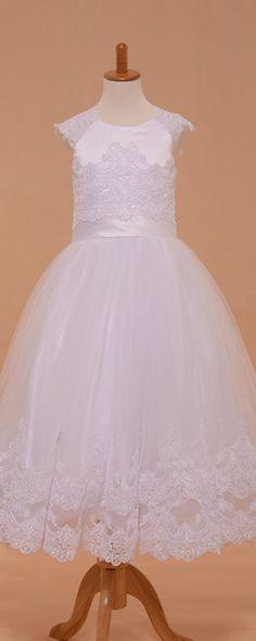 Lace girl's communion dress tea length white first holy communion dresses ball gown first communion dresses