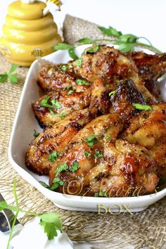 Honey Mustard Chicken Wings, baked not fried! I promised myself to mostly pin healthy food, but these look too good to miss!
