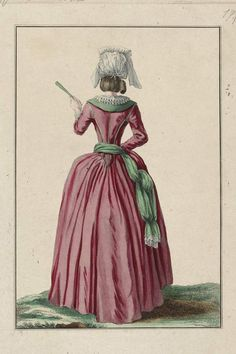 Simple lévite seen from the back; negligée coiffure, or large cap à la paysanne with lappets. (1780)