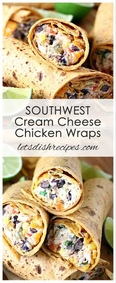Recipes Wraps SOUTHWEST CREAM CHEESE CHICKEN WRAPS RECIPE -- Chicken and cream cheese are combined with red peppers, black beans, corn, shredded cheddar and southwest spices, then wrapped in flour tortillas for a hearty lunch or light dinner. Cream Cheese Chicken, Cheesy Chicken, Chicken Salad Recipe With Cream Cheese, Cooking Recipes, Healthy Recipes, Healthy Meals, Healthy Eating, Sausage Recipes, Beef Recipes