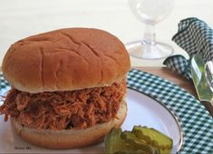 Slow Cooker Barbecue Pulled Chicken #skinnyms #slowcooker #cleaneating #recipes