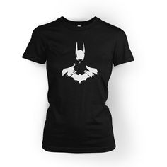 Batman Bust T-Shirt Women's Lady Fit ($18) ❤ liked on Polyvore featuring tops, t-shirts, black, women's clothing, flat top, graphic print tees, holiday t shirts, vinyl top and graphic tees