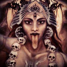 Kali Maa, teaching me creative devotion. This one is a wild one. Kali Goddess, Indian Goddess, Mother Goddess, Black Goddess, Kali Tattoo, Krishna Tattoo, Mother Kali, Divine Mother, Durga Maa