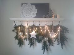 Coat rack with Christmas decoration.
