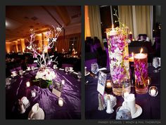 Purple Center Piece on the right is pretty too. I like the floating candle and you get different size holders OR fish bowls, or square ones.and you get them at the dollar store! Floating Candles Wedding, Floating Candle Centerpieces, Rustic Wedding Centerpieces, Flower Centerpieces, Wedding Decorations, Centerpiece Ideas, Pool Wedding, Geek Wedding, Purple Wedding