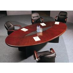 Conference room table, open center for media access
