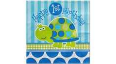 Mop up spills at your little one's birthday party with these blue napkins. Boasting a turle, they read 'Happy Birthday'. Happy 1st Birthdays, 1st Birthday Parties, Elsa, Turtle, Napkins, Kids Rugs, Party, Card Ideas, Turtles