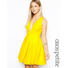 ASOS PETITE Exclusive Skater Dress with Deep Plunge