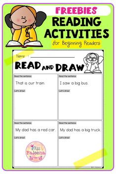 Free Reading Activities contains 8 pages of reading activities worksheets. This product is suitable for kindergarten through first grade students. These pages can be used for morning work, literacy centers, and writing centers. Kindergarten | Kindergarten Worksheets | First Grade | First Grade Worksheets | Reading Activities | Reading Skills | Read and Match | Reading Comprehension Read and Draw | Questions and Answers | Back to School | Morning Work | Free Lessons First Grade Worksheets, Kindergarten Worksheets, Writing Centers, Literacy Centers, Reading Activities, Reading Skills, Morning Work, Free Reading, Reading Comprehension
