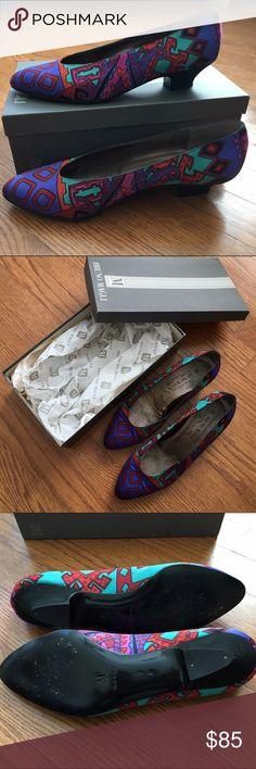 59e6293214cf Vintage Bruno Magli Silk Heels Spectacular vintage Bruno Magli women s silk  covered kitten heels. Shoes
