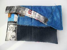Bolsa cintura azul ganga pedaços de tecidos ganga e algodão estampado Paris para mulher,Blue denim waist bag, printed cotton Paris for woman by dollsbysoniacosta on Etsy