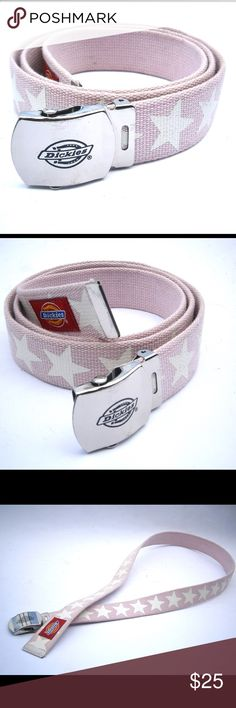 Hipster Cool Pink Dickies Web Belt Make fashion statement with an authentic vintage 90s Dickies web belt Designed with white stars on pale / baby pink adjustable and reversible belt  Shiny silver tone metal buckle with slide lock has Dickies logo in black paint Looks cute with blue, white or other solid colored jeans Rare and hard to find Dickies belt Iconic Dickies red logo / label stitched on tip of belt Unisex style Very good condition; no stains, no smudges, no rips, no holes No…