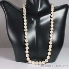"""see more #vintagejewelry and #estatejewelry on our website! (link in bio). #VINTAGE WHITE #PEARL NECKLACE 14K YELLOW GOLD CLASP - 18"""" LENGTH NR PEARLS  #StrandString"""