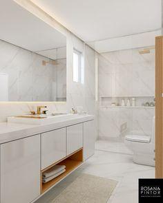Banho da Suíte- Porcelanato marmorizado parede e piso, deixou o ambiente moderno e clean Bathroom Colors, White Bathroom, Modern Bathroom, Bathroom Styling, Bathroom Interior Design, Dream Home Design, House Design, Best Decor, Small Room Bedroom