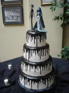 Corpse Bride Wedding Cake - Four tier buttercream cake with black fudge ooze dripping from each tier. The Corpse Bride and her Groom top the cake. Bolo Halloween, Halloween Cakes, Gothic Halloween, Halloween Themes, Halloween Wedding Decorations, Halloween Party, Halloween Supplies, Halloween Baking, Scary Halloween