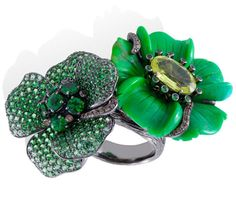 Black rhodium gold, brown diamonds, green garnets, chrysoberyl and green turquoise by Lydia Courteille