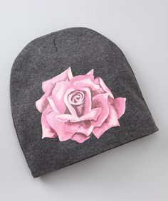 Look what I found on #zulily! Pink Axle Gray & Pink Rose Beanie - Infant by Pink Axle #zulilyfinds