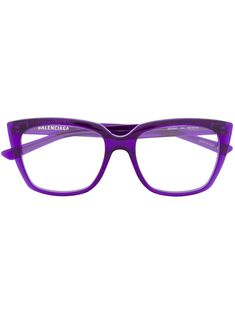 Frame your life with these purple acetate Square Glasses from Balenciaga Eyewear. Not just for reading! Featuring square frames, straight arms with curved tips and a brand logo on frames. This item comes with a protective case. Glasses Frames Trendy, Funky Glasses, Nice Glasses, Eyeglasses For Women Round Face, Best Eyeglasses, Online Eyeglasses, Best Eyeglass Frames, Balenciaga Womens, Fashion Eye Glasses