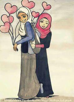 Friends Cartoon Sketches, Cartoon Pics, Cute Cartoon, Cartoon Art, Deviantart Drawings, Hijab Drawing, Islamic Cartoon, Anime Muslim, Hijab Cartoon