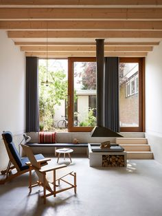James Jeffries of 31/44 Architects has designed this spacious and light-filled Amsterdam townhouse, faced in grey brickwork and illuminated by a skylight.