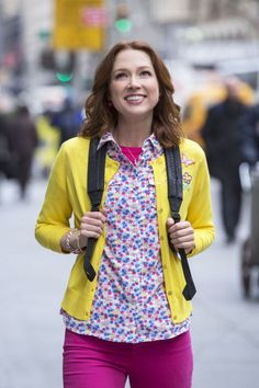 Colored Jeans + Floral Shirt + Bright Cardigan + Backpack = Kimmy Schmidt