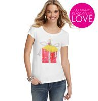 Present Girl Graphic Tee - The perfect way to get holiday cute: a delectably illustrated tee that's accented by beaded and shimmer details. Scoop neck. Short sleeves. Banded neckline and cuffs. Screenprint features chiffon, sequin and beaded details.